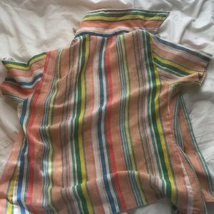 Tops - small, colorful pinstripe button up